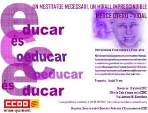 18/4, Invitació acte reconeixement Mercè Otero-Vidal