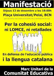 A Ca la Dona donem suport a la convocatòria del MUCE Per la cohesió social: ni LOMCE, ni retallades. Manifestació #13D, 18h pl.Universitat, bcn
