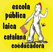 en Defensa de l'Educació Pública: Ni LOMCE , Nii LEC. ESCOLA PÚBLICA! :  LAICA, CATALANA I COEDUCADORA - Imatge:xapa feta a ca la dona, utilitzant part d'un dibuix de Lola Anglada trobat a internet.