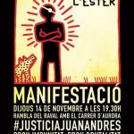 18n::Manifestació #JustíciaJuanAndrés #prou impunitat #prou brutalitat