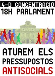 Ca la Dona ha signat el Manifest Aturem els pressupostos antisocials. 4D Concentració al Parlament!