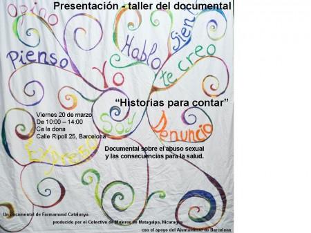 "20/03:: Presentació- taller del documental ""Historias para contar"""