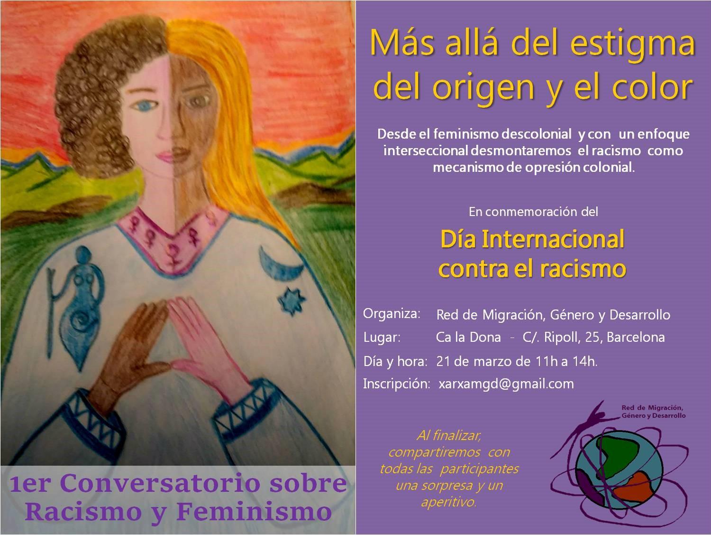 Flyer21M: 1er Conversatori sobre Racisme i Feminisme, a Ca la Dona a les 11h