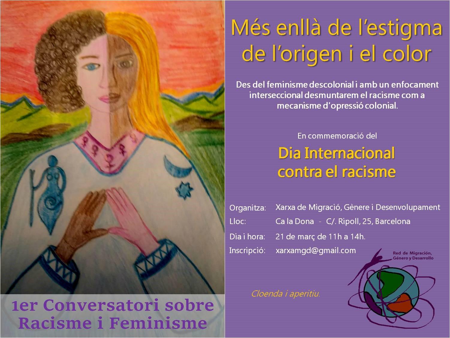 Flyer21M 1er Seminari Contra Racisme i Feminisme, a Ca la Dona a les 11h