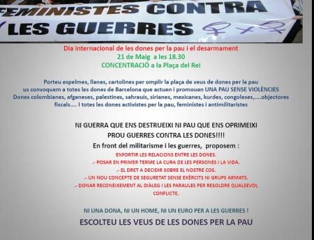 21/05:: Concentració- Dia internacional de les dones per la pau i el desarmament