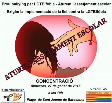 PROU BULLYING PER LGTBIfòbia - Concentració dimecres 27 de gener, a les 19 hores, a la plaça Sant Jaume (BCN)