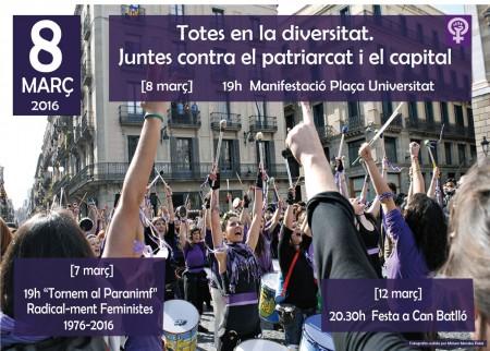 """8/03:: """"Totes en la diversitat. Juntes contra el patriarcat i el capital"""""""