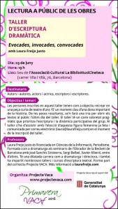 INVITACIÓ Presentació obres Taller Escriptura Dramàtica PRIMAVERA VACA 2016