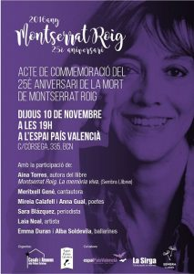 10/11:: Acte de commemoració del 25è aniversari de la mort de Montserrat Roig