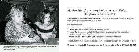 22/11:: Acte en record de M. Aurèlia Capmany i Montserrat Roig