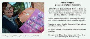 6/03:: Acte de reconeixement i donatge a Núria Pompeia