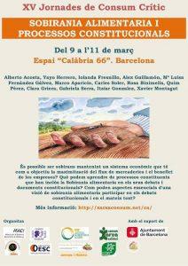 9-11/03:: XV Jornades de Consum Crític- Sobirania Alimentària i Processos Constitucionals